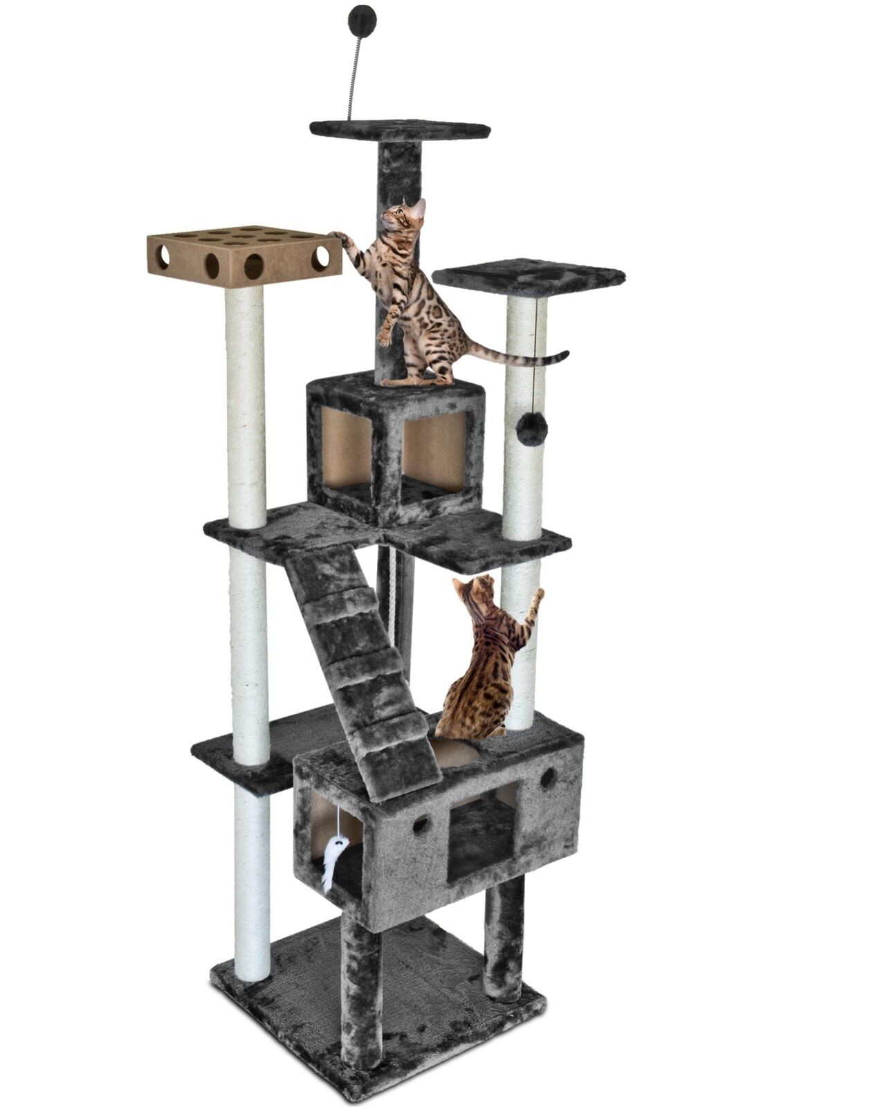 Large Cat Tree House Kitten Furniture Playground Hang Ball Mouse Toy Stret ng