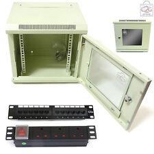 "10"" 6U White Wall Cabinet + Patch Panel + PDU + Ring Bar, 300mm Data Comms Rack"