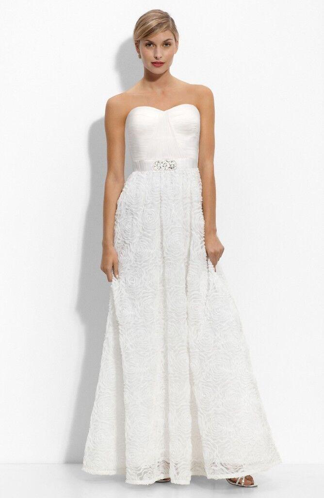 Adrianna Papell Strapless pinktte-Skirt Gown White, 8