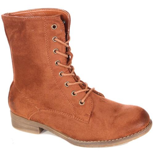 Damen Schuhe Schnür-stiefeletten Wildleder-Optik Boots Schnürer-Stiefel A2B-1019