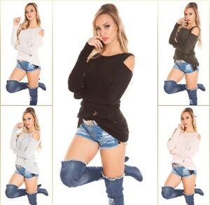 Koucla Cold Shoulder Pullover Used Look Strickpullover