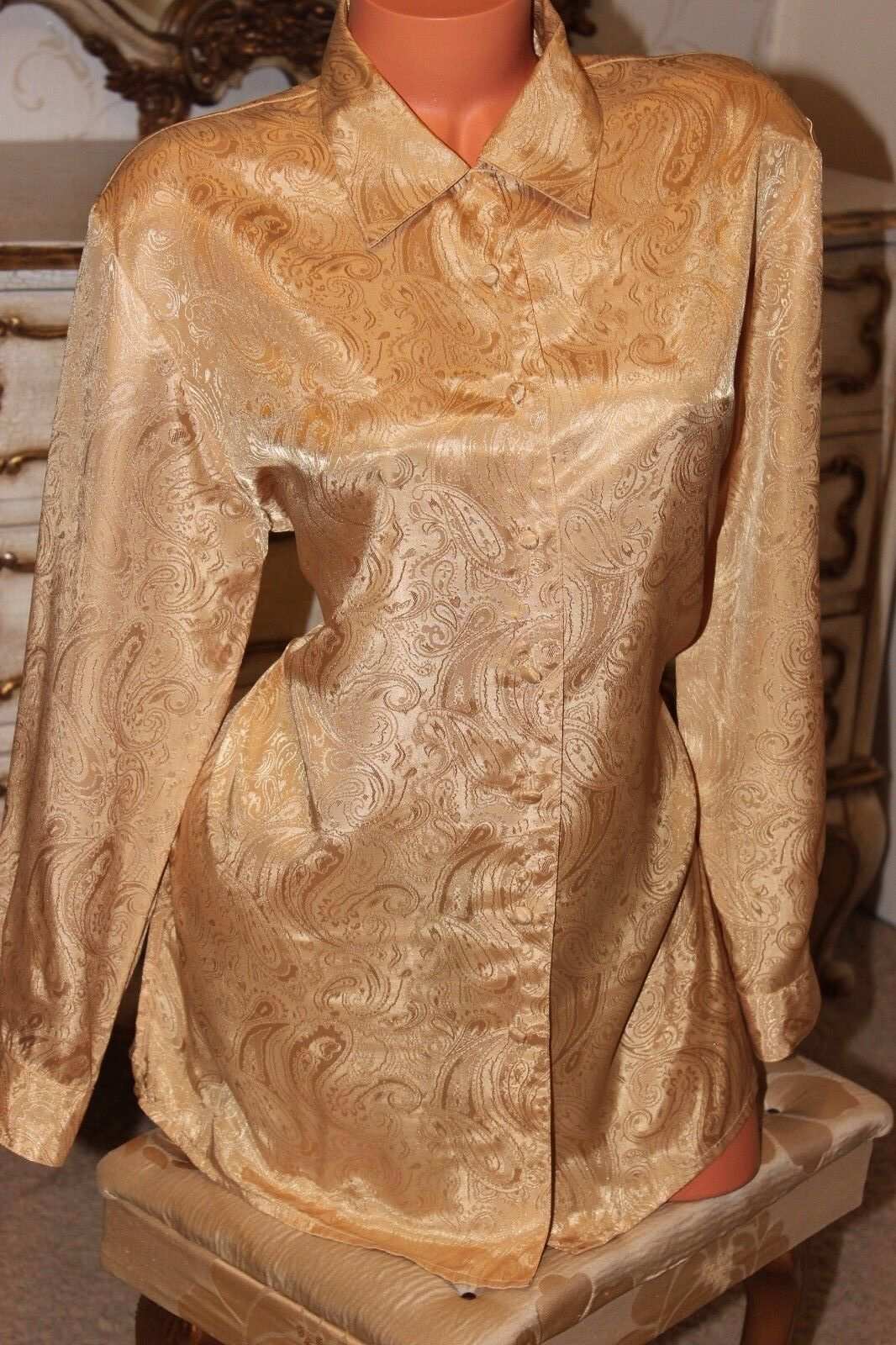 ESSENTIALS  shiny gold shirt blouse top in size 14-16