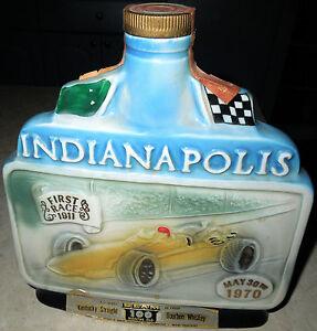 Vintage 1970 Jim Beam Indianapolis 500 commemortiveBourbon Whiskey Decanter