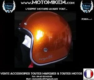 Casque-Jet-Retro-Vintage-3-4-Moto-Scoot-ORANGE-metal-flake-XS-S-M-L-XL