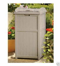 Outdoor Patio Hideaway Resin Trash Can Garbage Bin Waste Container Locking  Lid