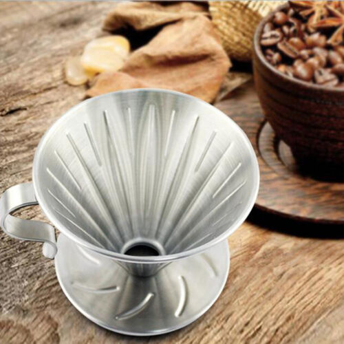 Kitchen Stainless Steel Pour Over Cone Dripper Reusable Drip Coffee Filter