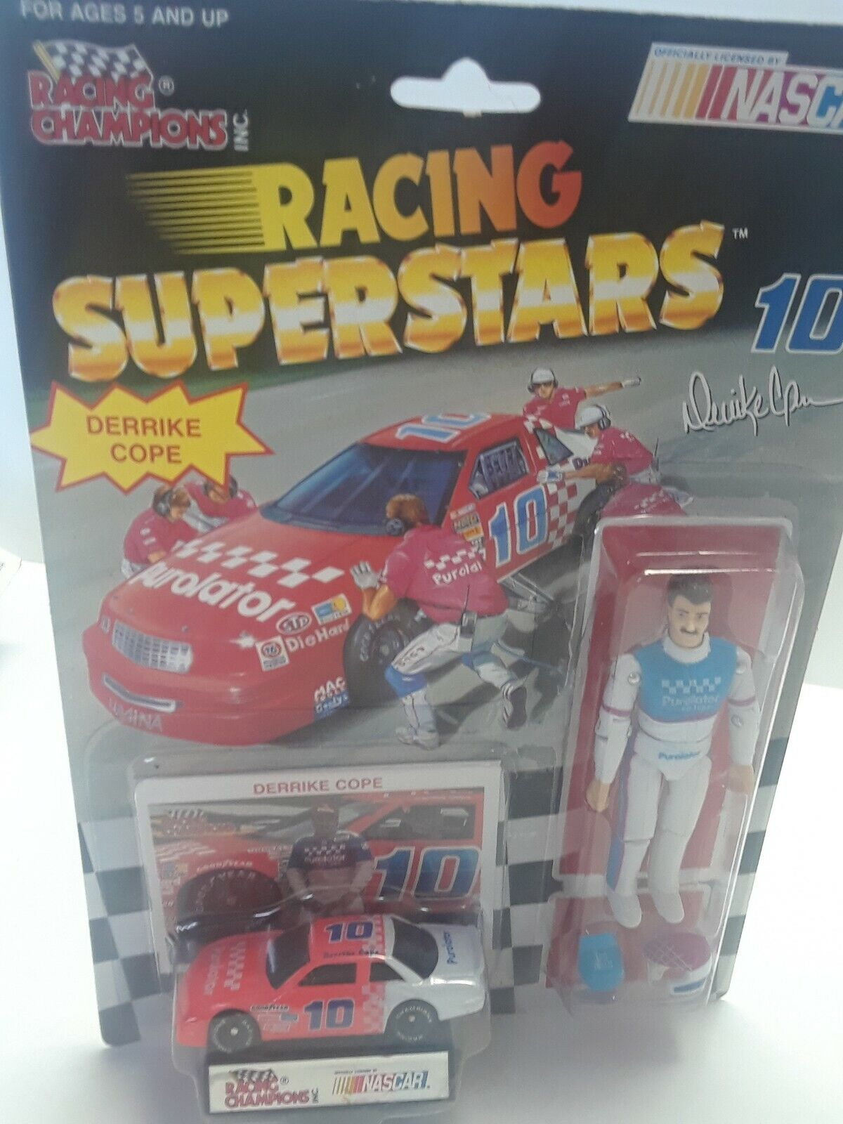 Racing Champions Superstars figure with car Derrike Cope