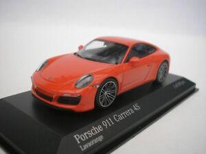 Porsche-911-Carrera-4S-4-S-2016-Lava-Orange-1-43-minichamps-410067241-Neuf
