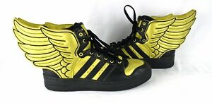160deeef8483 RARE! JEREMY SCOTT X ADIDAS JS WINGS 2.0 Metallic Gold Black Shoes ...