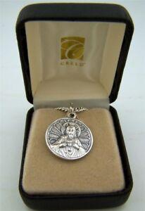 Mens-Fine-Brushed-Silver-7-8-Scapular-Sacred-Heart-Lady-of-Mt-Carmel-Medal-w-Box