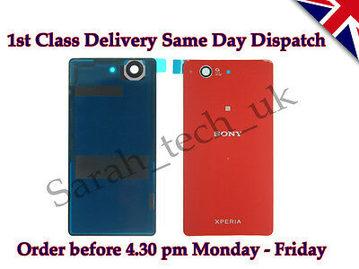 Sony Xperia Z3 Compact D5803 D5833  Battery back Cover Glass with Adhesive Red