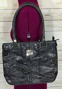 Image Is Loading Anne Klein Gray Black Faux Snake Print Purse