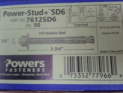 """Qty.200 Powers 3//8/"""" X 2-3//4/"""" 7312SD4 Power-Stud+SD4 Strength Design Wedge Anchor"""