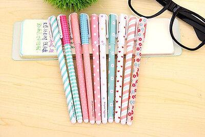 10PCS Cute Little Korean Stationery Watercolor Pen Gel Pens Set Color Kandelia