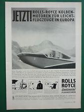 9/1962 PUB ROLLS-ROYCE CONTINENTAL FLUGMOTOREN LEICHT FLUGZEUGE GERMAN AD
