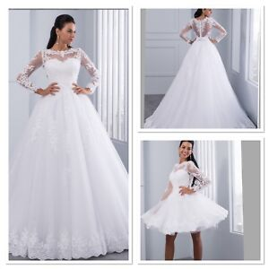 8238f9fc7c2 UK Plus Size Detachable White ivory Long Sleeve Lace Wedding Dresses ...