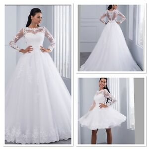 uk plus size 2 in 1 white ivory long sleeve lace wedding dress size