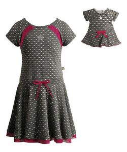 """Dollie /& Me Girl 4-14 and 18/"""" Doll Matching Gray Dress Pink Outfit American Girl"""