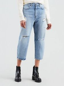 uk cheap sale clear and distinctive pretty cheap Details about LEVI'S Barrel Crop Made & Crafted Distressed Ripped Jeans  Women's 29 $168 New
