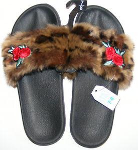 Women/'s Slippers M XL Flip Flops Soft Leopard Faux Fur Comfy Balance Lightweight