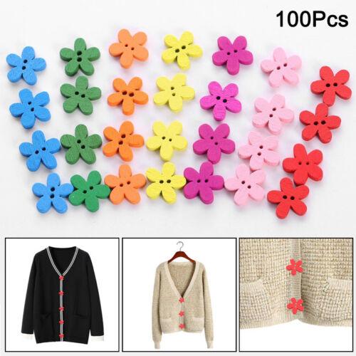 100pcs Wooden Buttons Mixed Adorable Flower Shape Sewing Buttons Scrapbook Craft