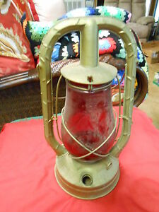 "Vintage Primative DIETZ ""Monarch"" Railroad Lantern ...""RUBY RED"" Globe......SALE"