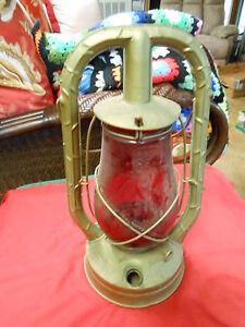 "Vintage Primative DIETZ ""Monarch"" Railroad Lantern ...""RUBY RED"" Globe......SALE"