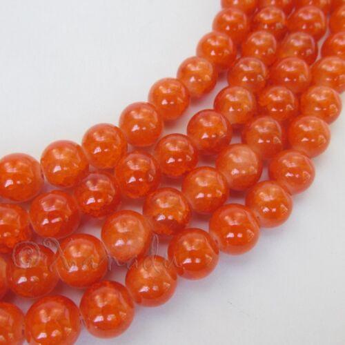50 Or 100PCs Orange Wholesale 10mm Round Crackle Glass Beads G8108-20