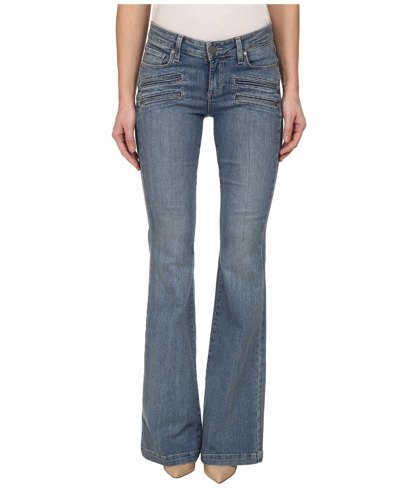 3de51a83dd11c Details about NWT PAIGE FIONA PAULINA NO WHISKERS MID RISE FLARE JEANS 27