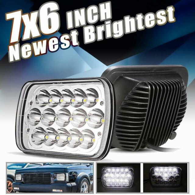 FOR FORD//CHEVY 7X6 SQUARE CHROME PROJECTOR HEADLIGHTS+H4 BULBS+BLUE DOT LAMPS