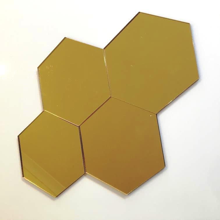 HEXAGONAL Acryl Wandfliesen - Goldspiegel