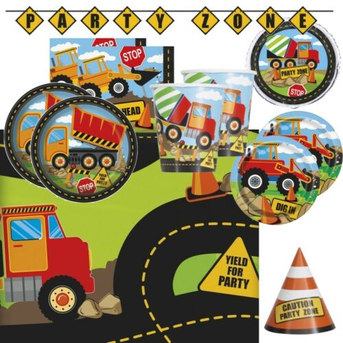 Decorations Banners /& Balloons Construction Digger Party Supplies Tableware