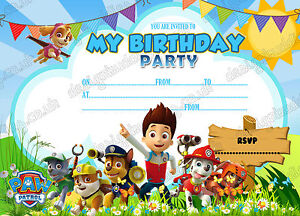 Paw Patrol Invitation Paw Patrol Birthday Party Invitation Free Envelopes X 8 Ebay
