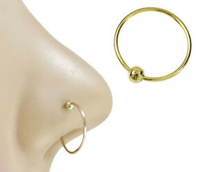 14K Solid White Gold 10mm Nose Hoop Nose Ring Earring Body Piercing Jewelry
