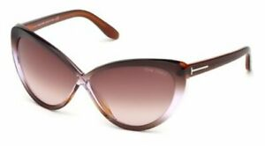 c051f4f54e8b7 New Tom Ford Cat Eye TF 253 50Z Madison Dark Brown Purple Sunglasses ...