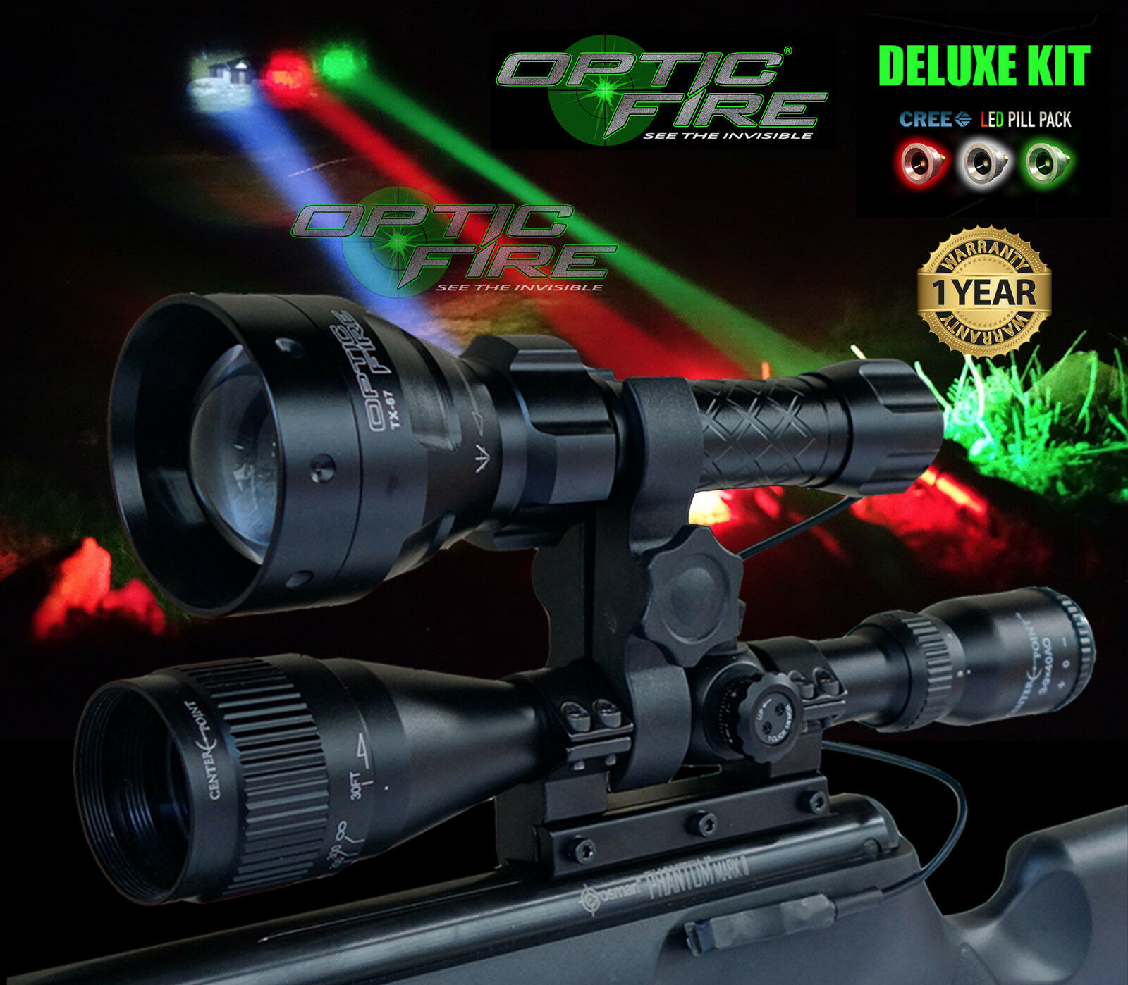 Opticfire® TX-67 T67 LED Deluxe Supreme scope lamping kit hunting torch NV lamp