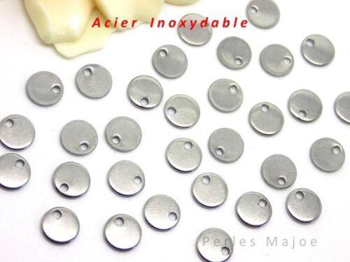 20 breloques sequin rondes en acier inoxydable petites dimensions