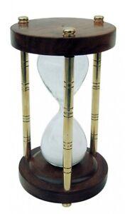 Sanduhr Stundenglas - Messing Holz mit 3 Säulen - 15 Minuten - sc-9182
