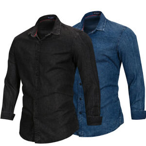 New-Fashion-Men-039-s-Washed-Denim-Jean-Shirt-Long-Sleeve-Casual-Shirt-100-Cotton
