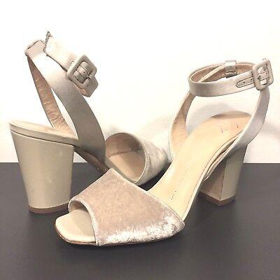 6615c8dbe45 GIUSEPPE ZANOTTI Patent Velvet Satin Block Heel Sandal Beige Size 36 (MSRP  $695)   eBay