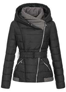 Details zu ★Damen Winter Jacke Gürtel Asym Zipper Kapuze Wind Wasserabweisend Schwarz★XL★