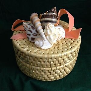 Woven Coasters in Woven Basket Holder w/Seashells and Ribbon