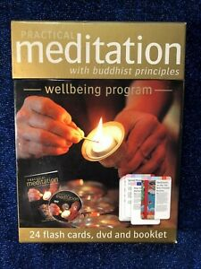 PRACTICAL-MEDITATION-with-Buddhist-Principles-DVD-PAL-BOOK-amp-24-Flash-cards-VG