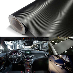 Premium 12 x 60 3D Car Carbon Fiber Vinyl Wrap Sticker Roll Black Bubble Free
