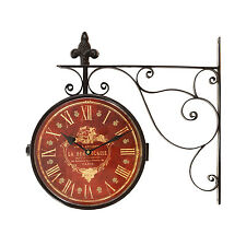 Iron Red Face Roman Numerals with Scroll Wall Mount Round Wall Hanging Clock
