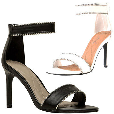 new open toe ball stud trim ankle strap pump sandal shoes
