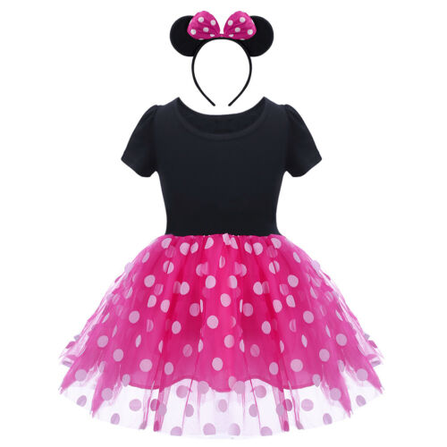 Baby Kid Girls Minnie Mickey Mouse Polka Dots Cake Smash Party Birthday Dress