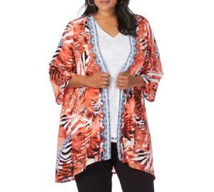 521b6eaf656 Loose Fitting Beme Embellished Black Orange 3 4 Sleeve Kimono Jacket ...