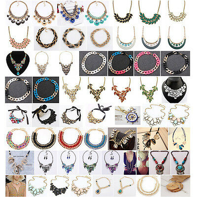 2017 Fashion Charm Jewelry Crystal Chunky Statement Bib Chain Choker Necklace #a