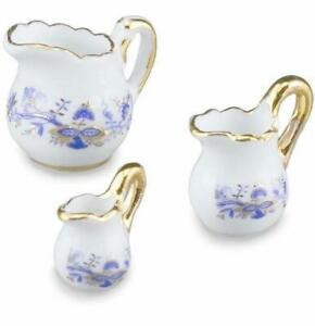 DOLLHOUSE-Serving-Pitcher-Set-1-450-5-Reutter-Porcelain-Blue-Onion-Miniature